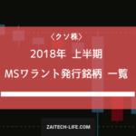 2018年上半期 MSワラントを発行した企業一覧を発表!